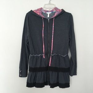 Matilda Jane Gray Peplum Zipper Hoodie Sweater